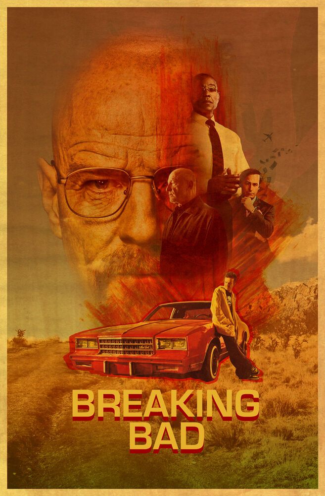 breaking bad tv show poster amc bryan cranston art ebay. Black Bedroom Furniture Sets. Home Design Ideas