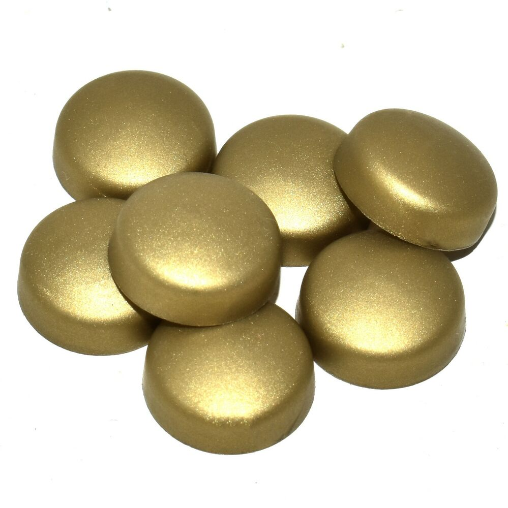 50 x small brass coloured two piece dome screw cap covers. Black Bedroom Furniture Sets. Home Design Ideas