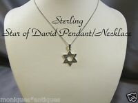 "Marcasite Star of David Pendant Sterling Necklace 18""L"