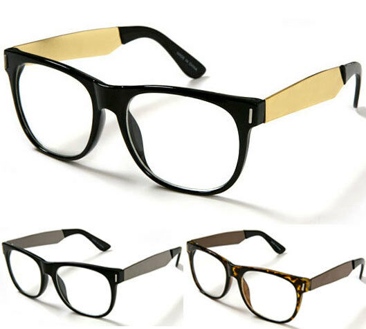Modern Mens Eyeglass Frames : New Modern Wayfarer Eye Glasses Gold Metal Temples Clear ...
