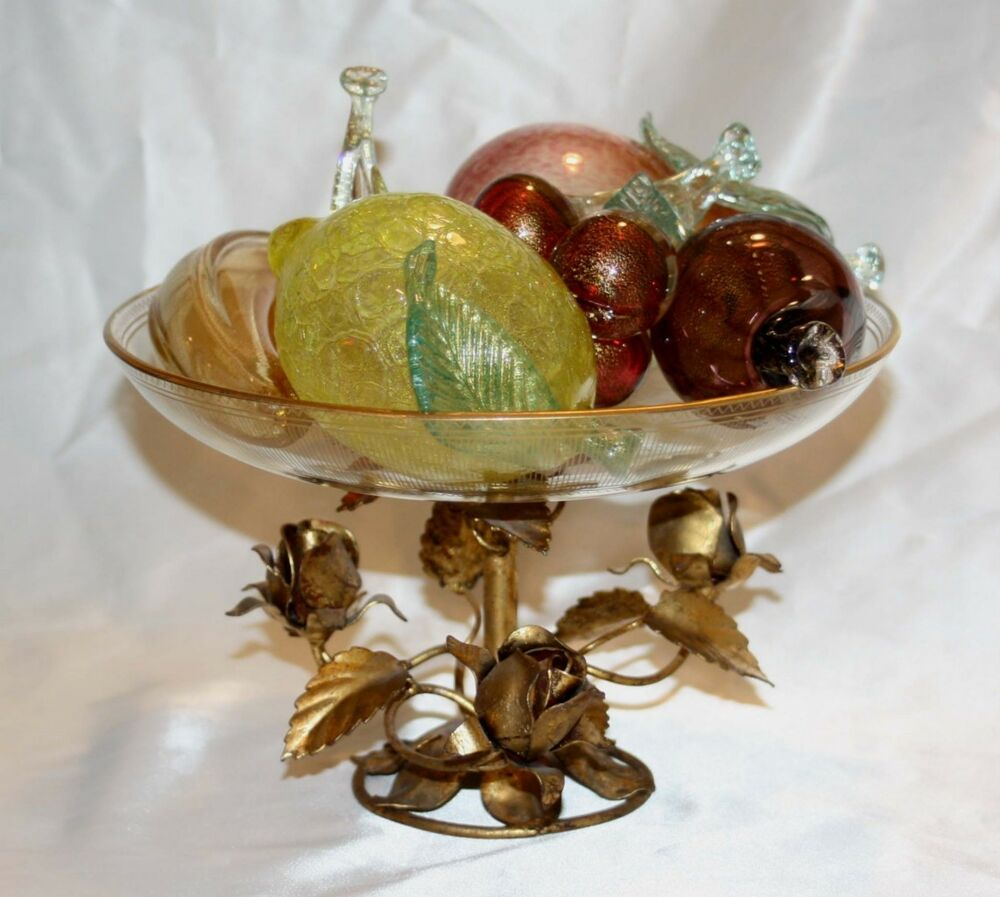 venetian glass bowl with glass fruit very unique near mint condition ebay. Black Bedroom Furniture Sets. Home Design Ideas