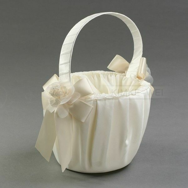 Flower Girl Baskets Ivory Uk : Ivory cream satin flower girl basket wedding floral new