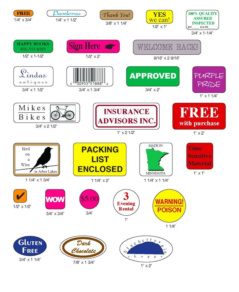 1000 Custom Labels, Printed Small Rectangle Round Square