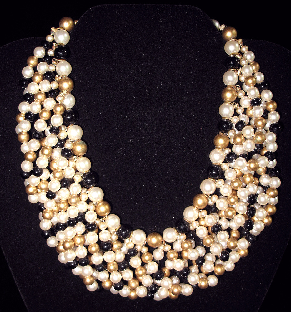 Vintage Pearl Choker Necklace: Vintage Gold Pearl And Black Bead Layered Bib Necklace
