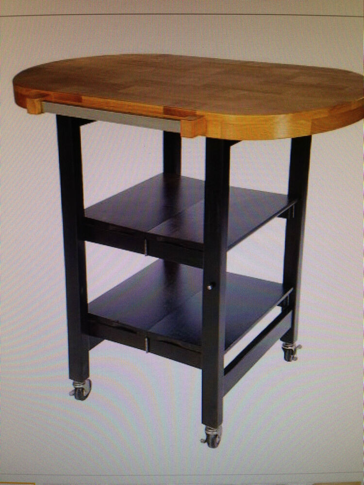 Butcher Block Kitchen Carts And Islands : Folding Island Oval Shape Kitchen Cart w/Butcher Block Style Top eBay