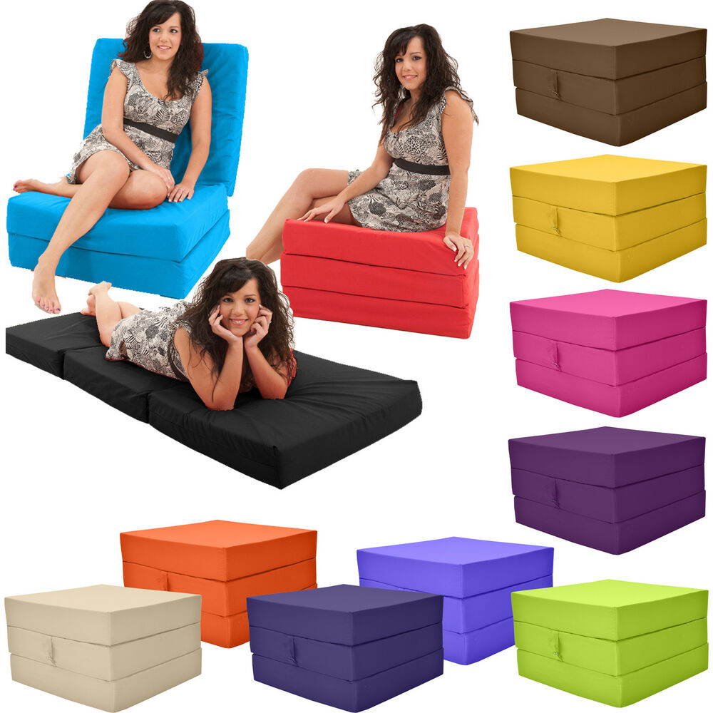 Stain resistant Fold Out Adult Cube Guest Z Bed Chair CUBE Single Futon Chair