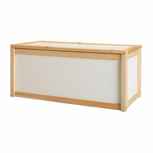 New IKEA Storage Toys Box Bench White Pine Removable Lid | eBay
