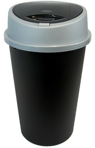 Black touch top bin dustbin rubbish bin kitchen home plastic ebay - Top plastic krukje ...