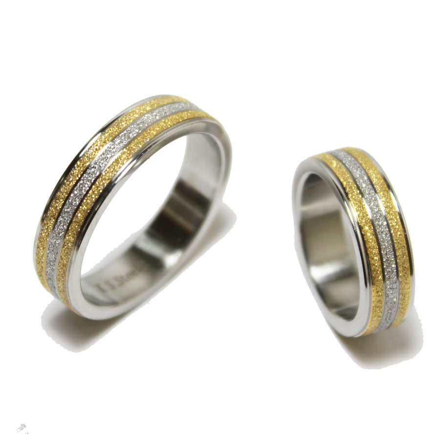 Stainless Steel Gold Amp Silver Tone Matte Glitter Wedding Band Matching Ring Sets