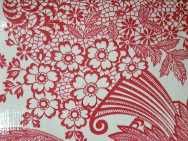 Red Paradise Lace Retro Kitchen Dining Patio Oilcloth