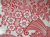 RED PARADISE LACE RETRO KITCHEN DINING PATIO OILCLOTH VINYL TABLECLOTH 48x72 NEW
