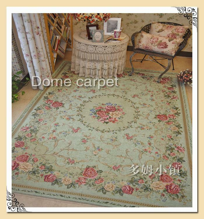 Cushioned French Country Rooster Rug: French Country Traditional Classic Chinese Floral Green