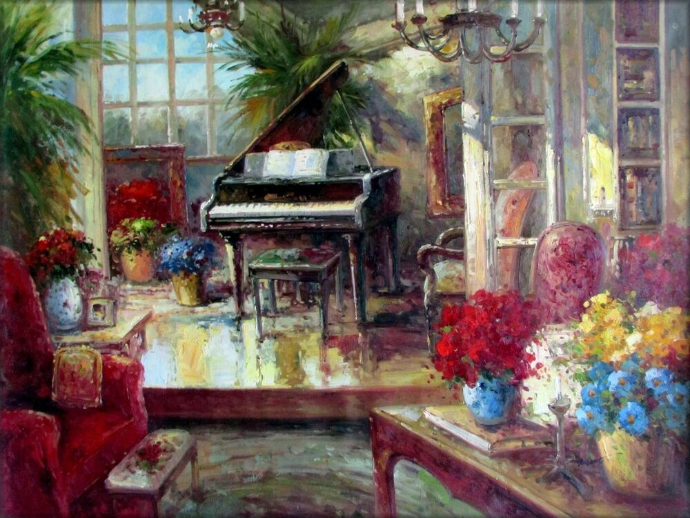 Ex large grand piano at living room corner hand painted oil painting 36x48in ebay for Oil painting for living room