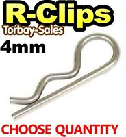 4mm x 75mm R Clips Pins Linch Trailer Digger Tractor Excavator Spring x10 or x50