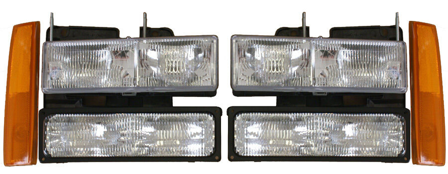 New Replacement Headlight 6 Pc Set For 1988 93 Gmc Truck
