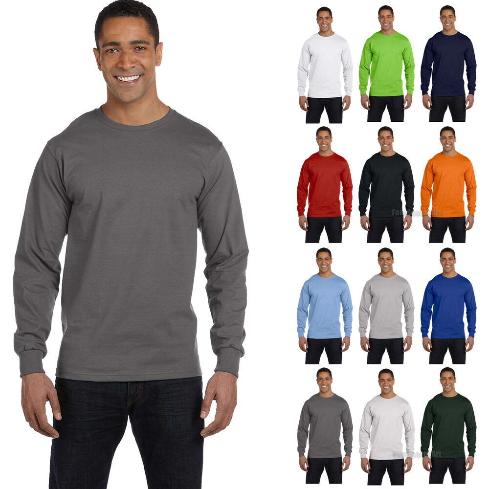 New hanes mens 100 cotton long sleeve beefy t t shirt tee for Mens 100 cotton t shirts
