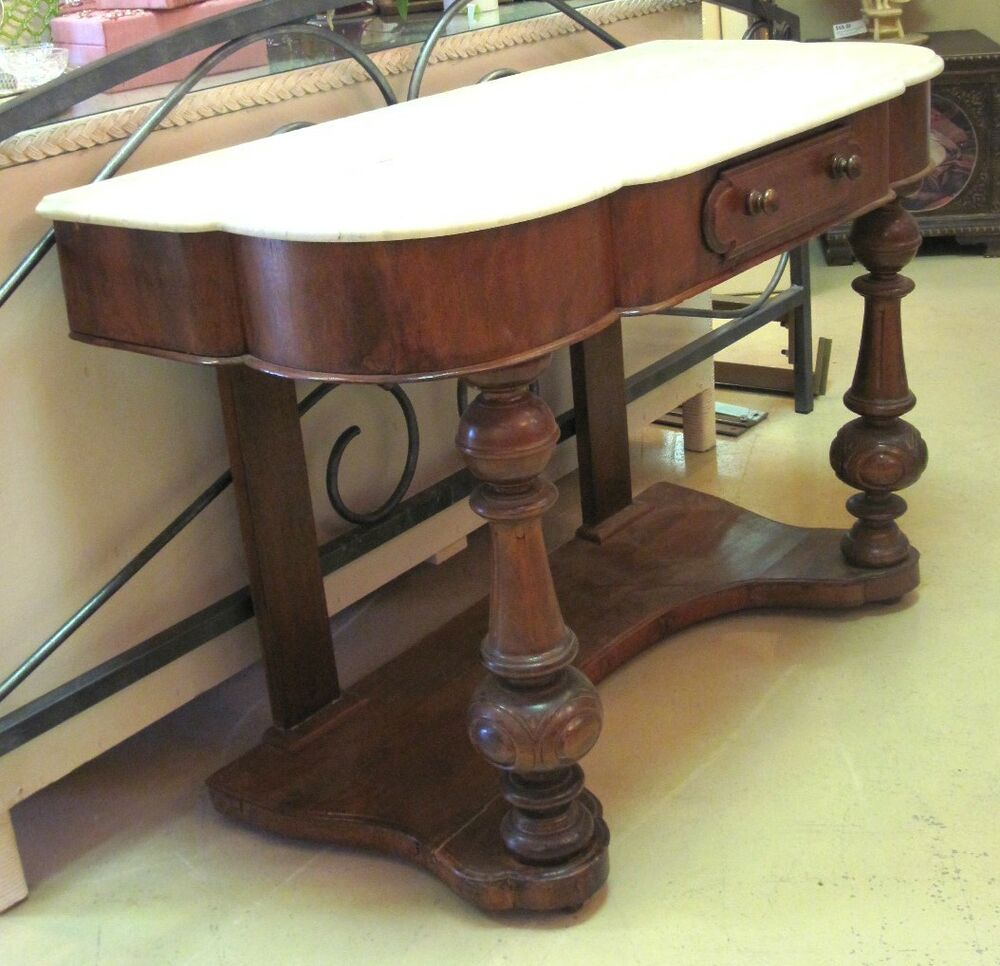 Foyer Table With Marble Top : Antique walnut console marble top hall table hand carved