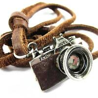 Men's COOL Unisex punk charm Camera Pendant Genuine Leather Necklace 119