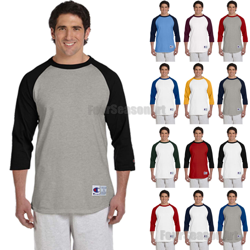 8a7df6ea8dd Details about Champion Mens 3 4 Sleeve Baseball T-Shirt S-3XL Raglan Jersey Tee  T137-T1397 NEW