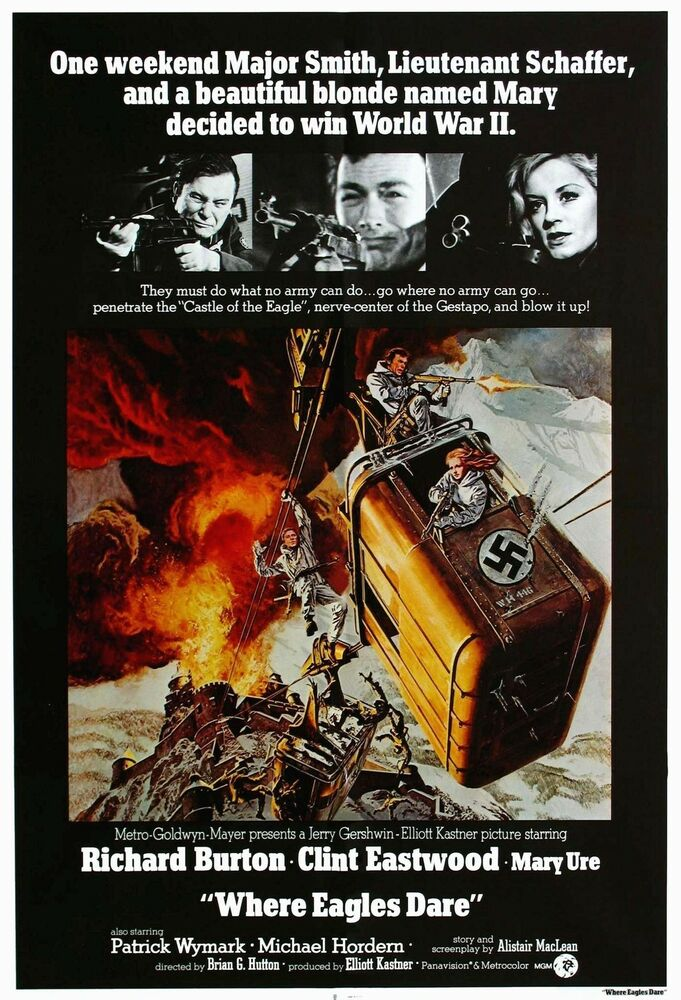 WHERE EAGLES DARE Movie Poster RARE Clint Eastwood | eBay