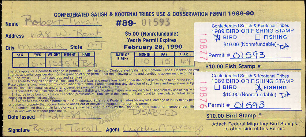 Flathead indian reservation fh5 on disabled license used for Fishing license for disabled person