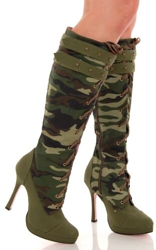 camo canvas lace up knee high heeled army boots ebay