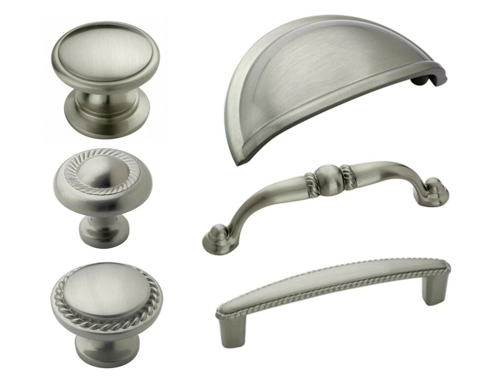 Amerock satin nickel rope cabinet hardware knobs pulls for Cabinets handles and knobs