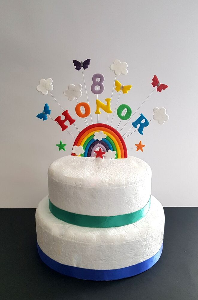 Details About Rainbow Butterfly Birthday Cake Topper Decoration Personalised Name And Age