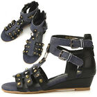 New Womens Blue Sexy Ankle Strap Low Heels Sandals Summer Shoes