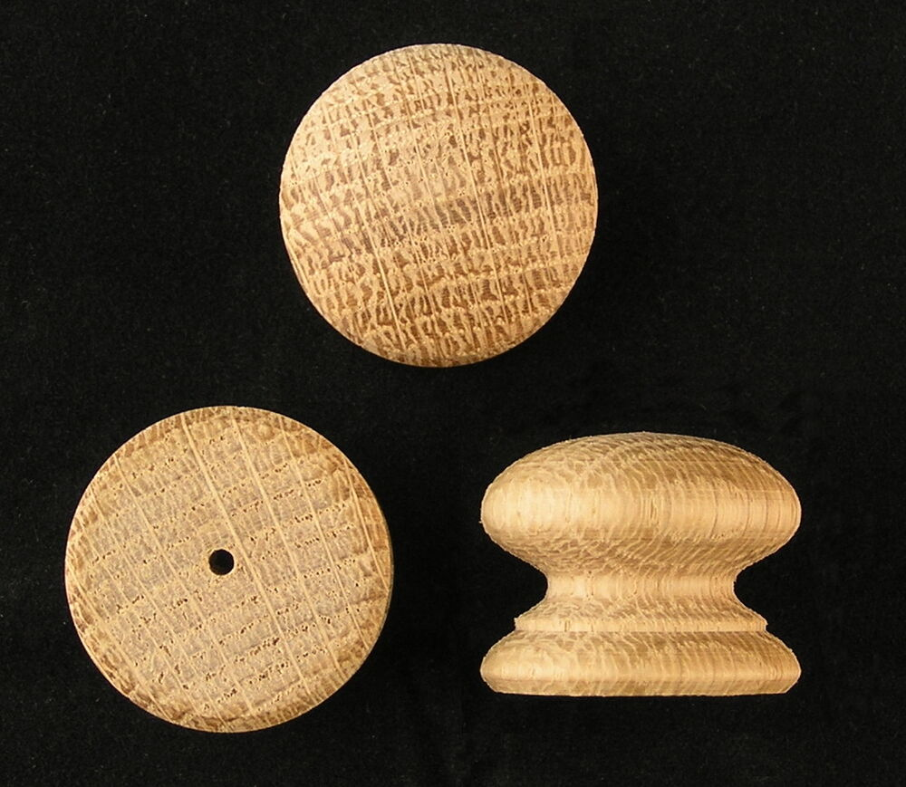 Pack Of 10 Small Drilled Wood Oak Knobs Handles 25mm