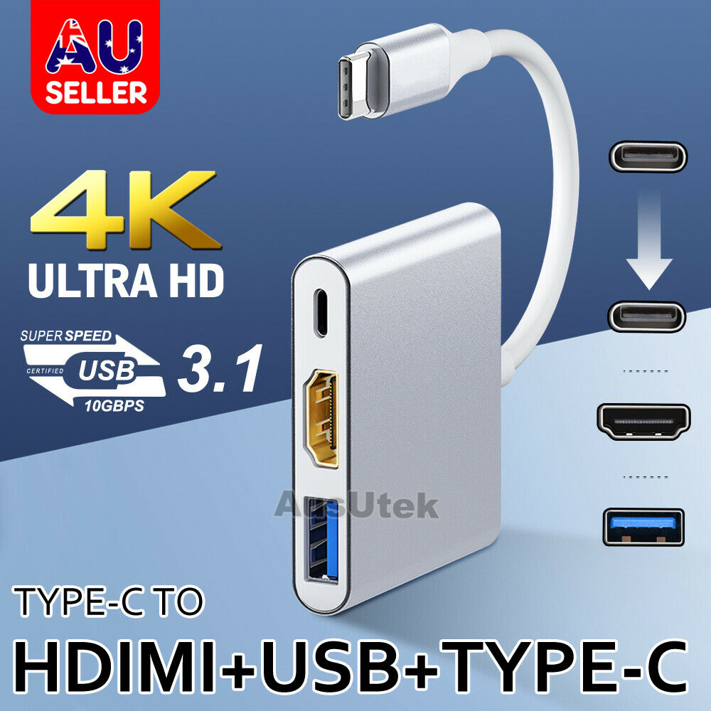 3in1 usb 3 1 type c to 4k hd hdmi usb 3 0 hub usb c charging port adapter cable ebay. Black Bedroom Furniture Sets. Home Design Ideas
