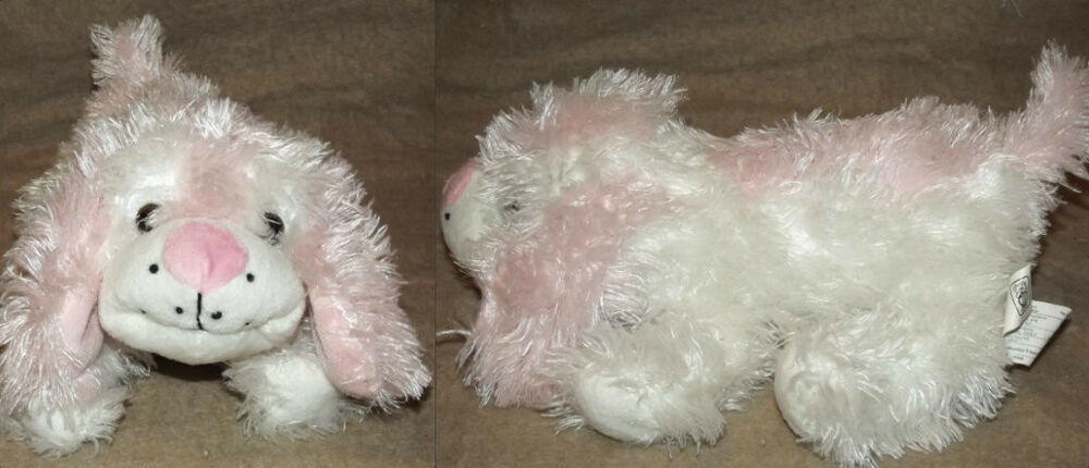 """Carnival Toy Box Pink: 12"""" Plush White Pink Furry Puppy Dog Toy Network Carnival"""