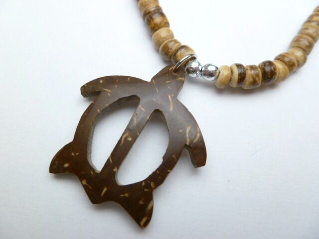 Hawaiian coconut shell turtle necklace light brown coco for Real tortoise shell jewelry