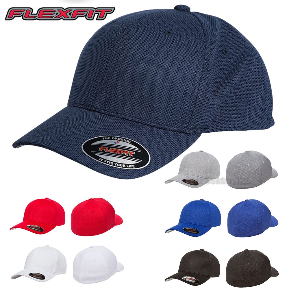 flexfit mens cool pique mesh fitted cap blank hat 6