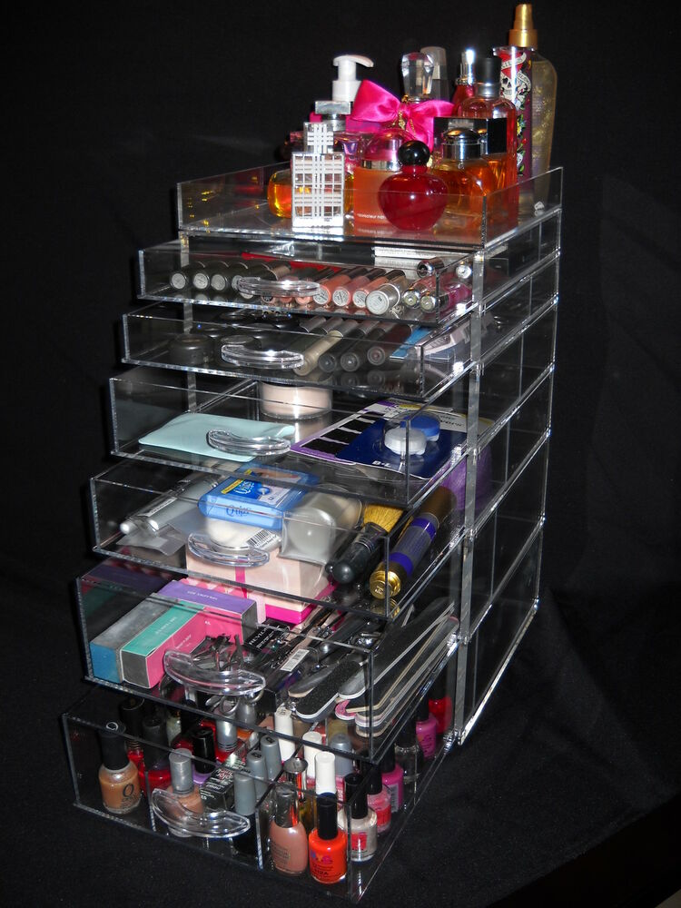 clear kardashian makeup organizer with 3 7 drawers acrylic. Black Bedroom Furniture Sets. Home Design Ideas