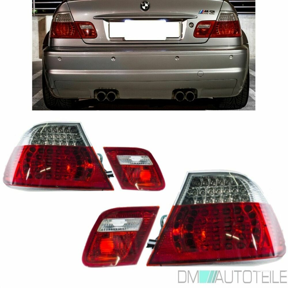 BMW E46 3 SERIES COUPE RED CLEAR LED REAR LIGHTS 99-2003 2