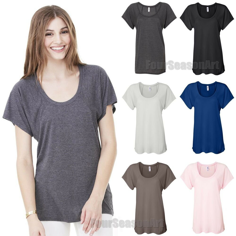 Bella Ladies Flowy Raglan T Shirt Relaxed Fit Women Tee S