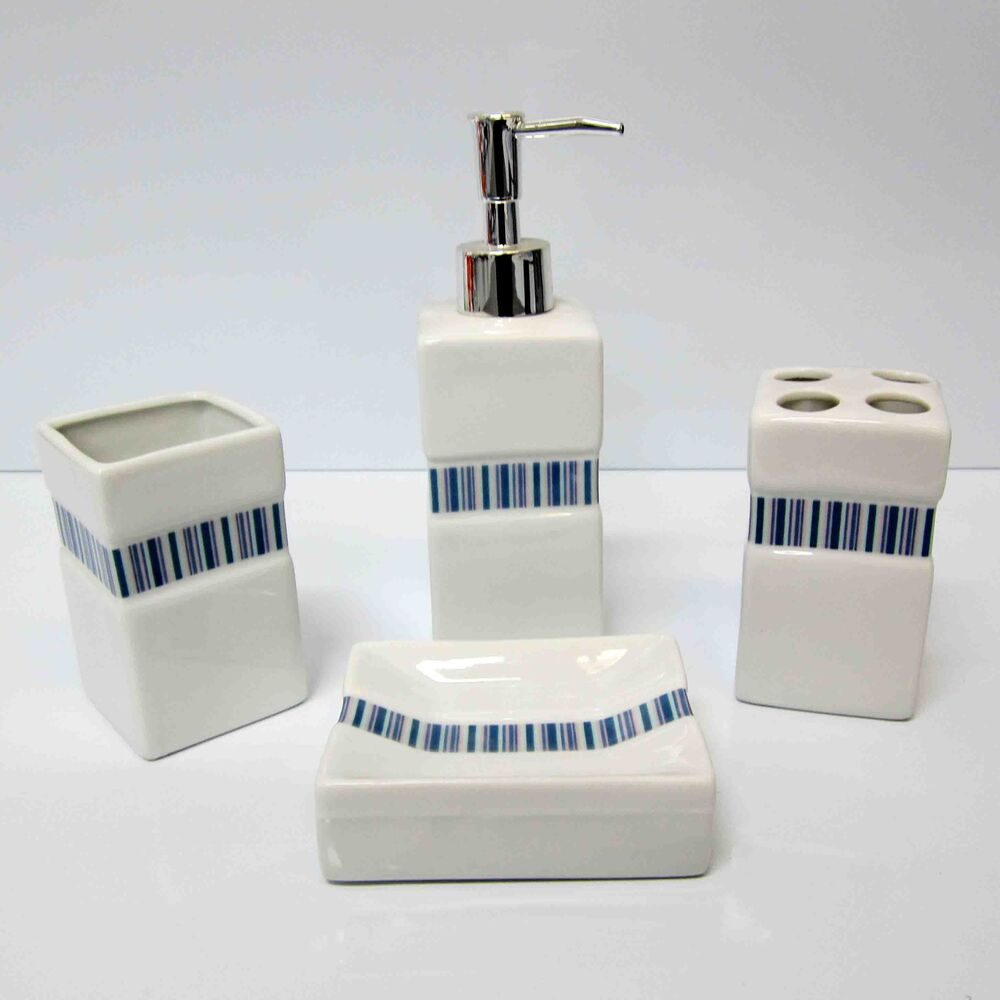 4pc porcelain bathroom set toothbrush holder soap dish dispenser tumbler new ebay - Bathroom soap dish sets ...
