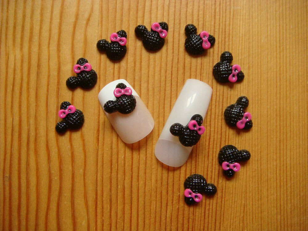 10 cute 3d mickey mouse pink black 3d nail art decoration for 3d nail art decoration
