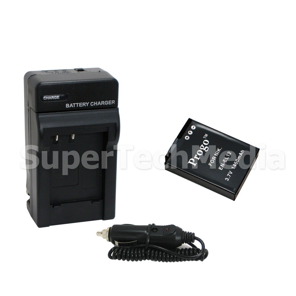 New Battery Amp Charger Combo Kit For Nikon En El12 Coolpix