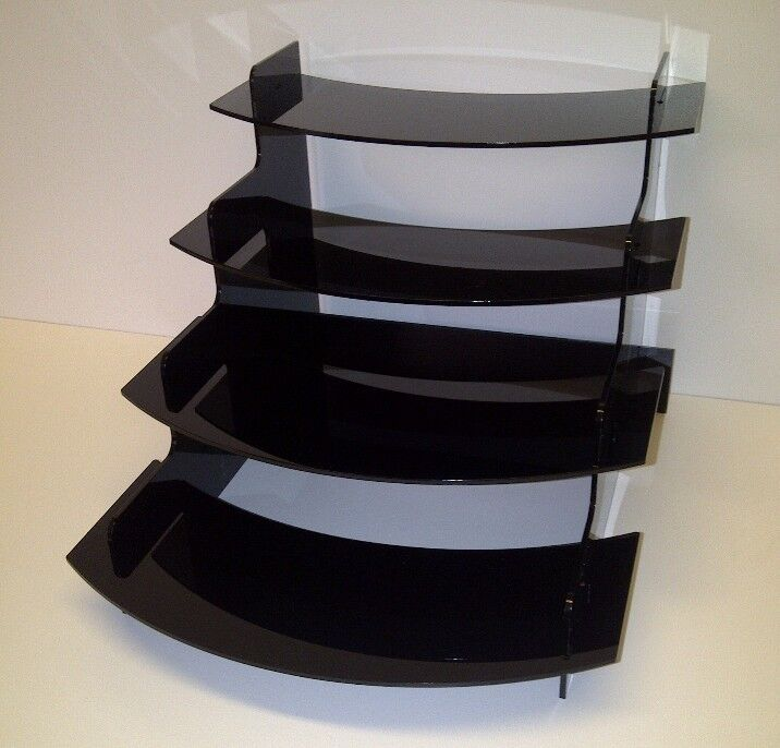 4 Step Black Acrylic Display Counter Stand With Curved