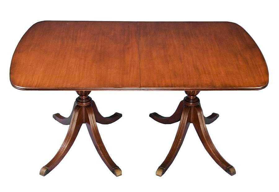English Antique Style Mahogany Double Pedestal Dining