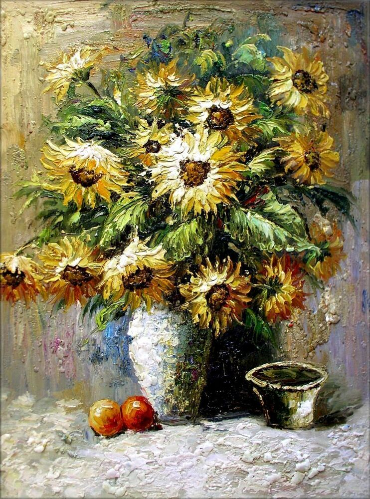 Stretched Still Life With Sunflowers In Vase Quality Oil Painting 30x40in Ebay