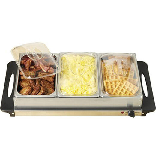 3 Tray Food Warmer ~ Station food warmer buffet serving tray stainless