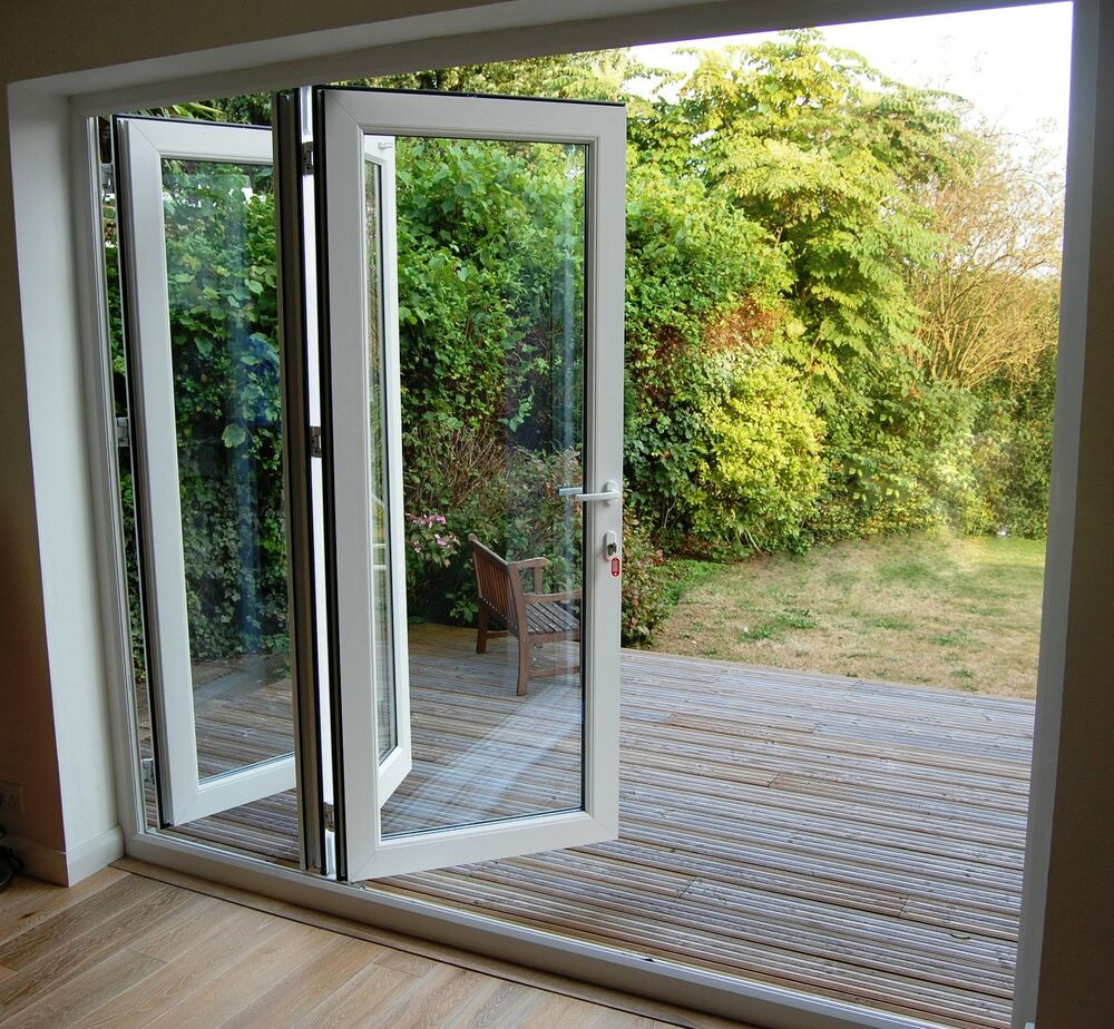 White upvc 3 pane bifold doors 1 8 wide made to for Upvc folding doors