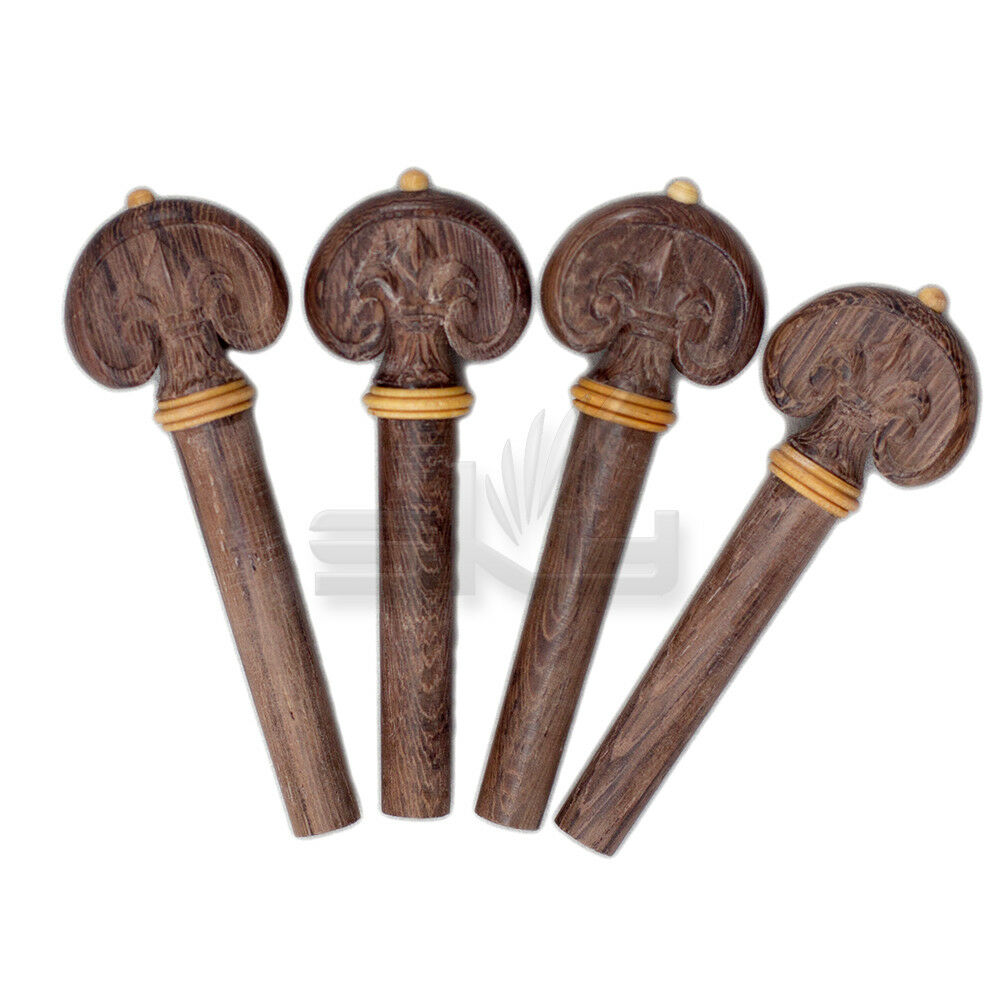 Hand carved dark rosewood violin pegs yellow ring tip