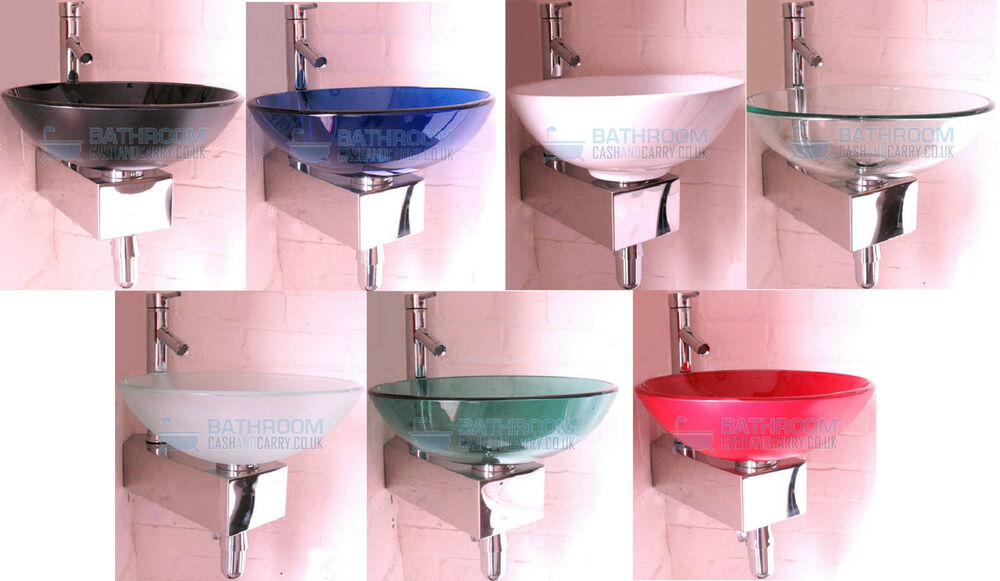 Small Corner Wash Basin : Bathroom Sink Glass Wash Basin Small Compact Wall Mounted Round Tap ...