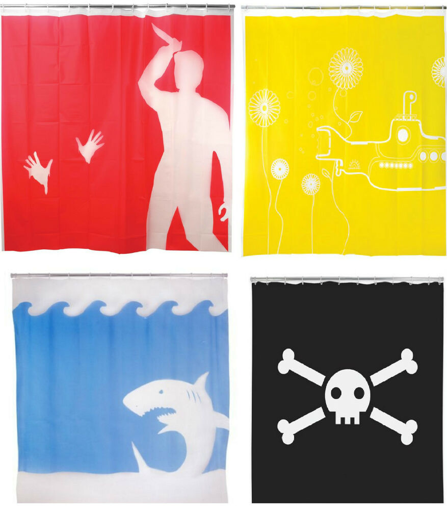 Kikkerland shower curtains psycho jolly roger skull jaws for Psycho shower curtain and bath mat