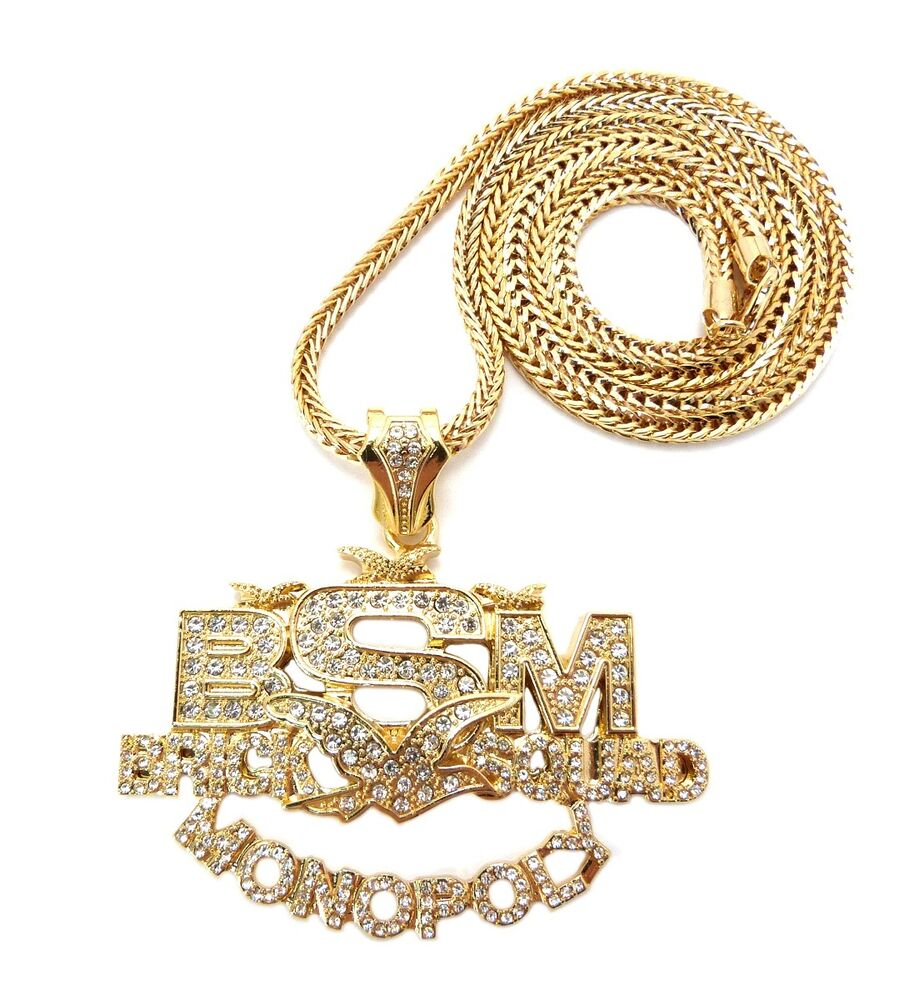 "ICED OUT BRICK SQUAD MONOPOLY PENDANT & 36"" FRANCO CHAIN"