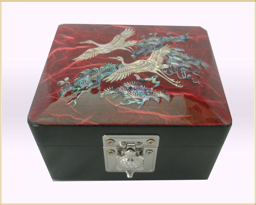 Jewelry Box Inlaid With Mother Of Pearl Shell Wooden White Crane Design Ebay